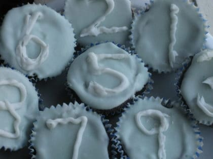 Natural Blue Food Coloring in Frosting on Cupcakes