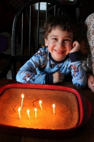 little boy with Homemade Birthday Cake