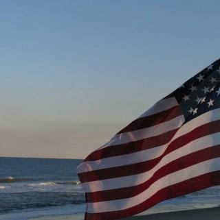 Old Glory. Flag by Beach