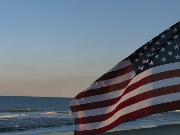 Old Glory. Flag by Beach