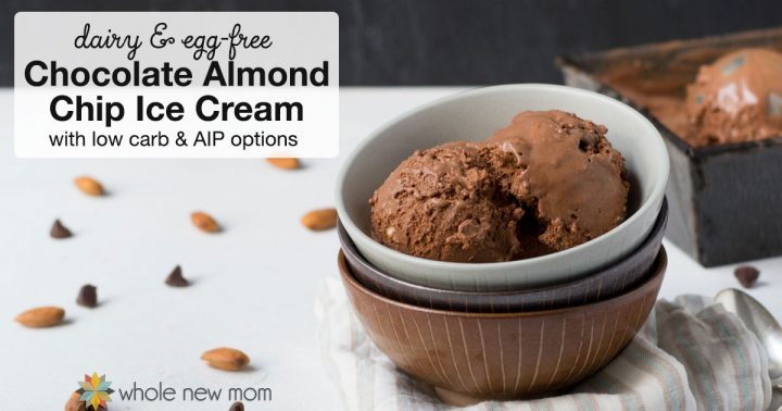 Chocolate Almond Chip Ice Cream in bowls piled up with a pan of homemade ice cream behind it