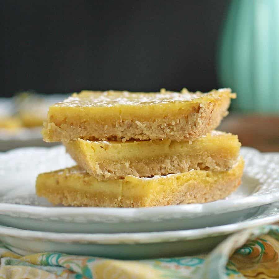 A GREAT Gluten-free Lemon Bars Recipe that is also sugar free and with grain-free and egg-free options to make them AIP and vegan. The perfect refreshing dessert that's not too sweet.