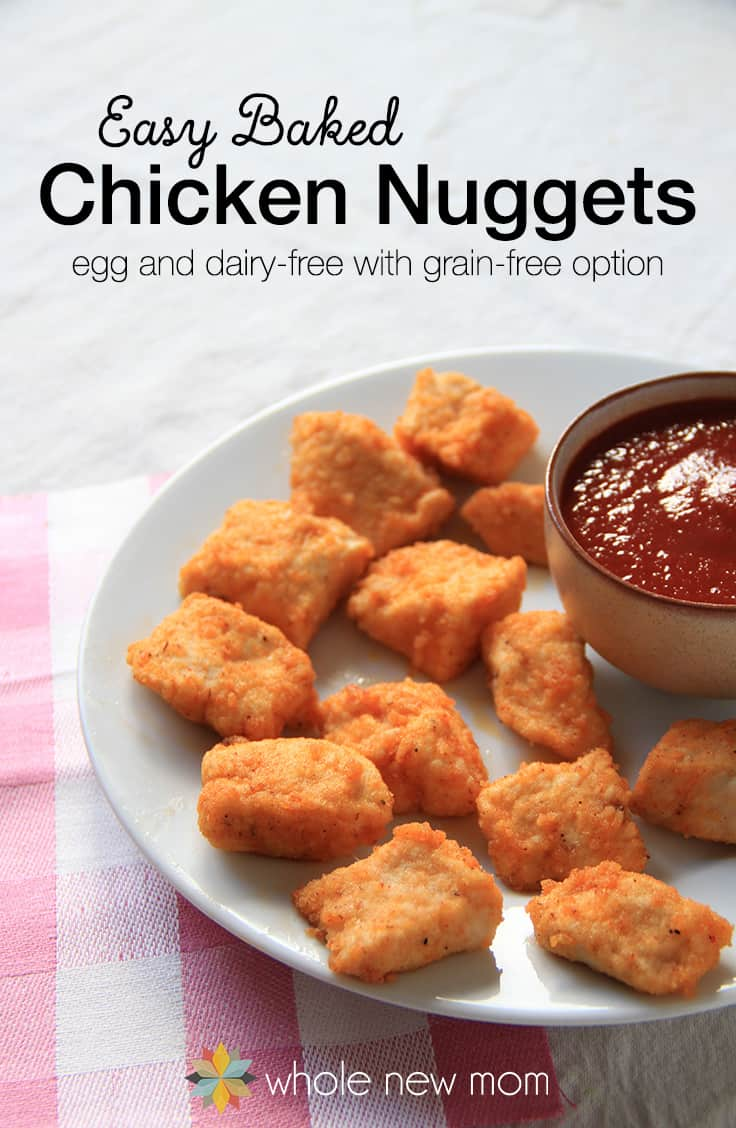 Easy Baked Homemade Chicken Nuggets Recipe-Need a delicious, quick and healthy meal? Try this Easy Baked Chicken Nuggets Recipe. They taste like you spent a TON of time in the kitchen, but they come together in a flash. Grain & Egg Free and they freeze well too! No more pink sludge nuggets from the fast food companies for sure!