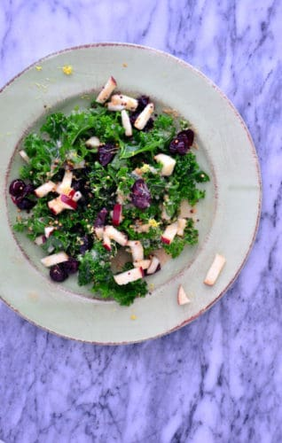 Cranberry Kale Salad with Tahini Dressing