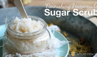 This Nourishing Sugar Scrub is great for making your skin silky smooth. It's super simple, and frugal, and you can add your own fragrant essential oils as you like. Makes a great easy-to-make gift!