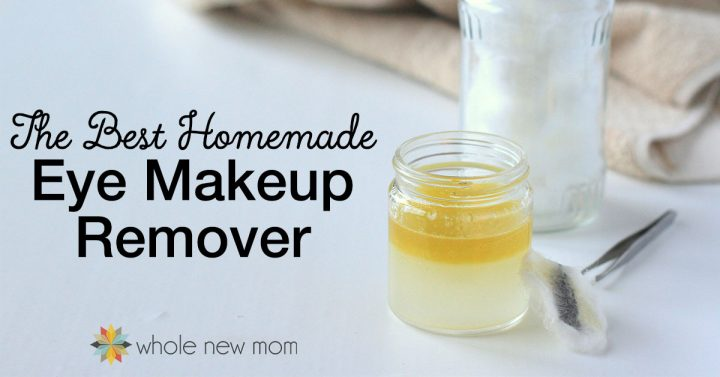 homemade eye makeup remover in a jar with cotton balls and tweezers