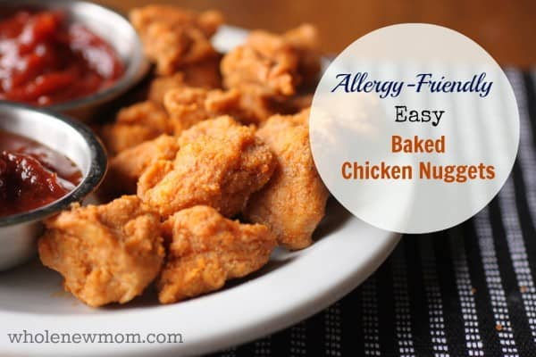 These Easy Baked Chicken Nuggets taste like you've spent a lot of time on them, but they're ready lickety-split! And they're allergy-friendly too. Dairy and egg-free with gluten-free option.
