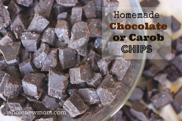 These Homemade Chocolate Chips are easy to make, taste great and hold their shape in baked goods. Great for special diets - dairy, soy, and sugar-free, and you can make them with carob too to avoid caffeine!