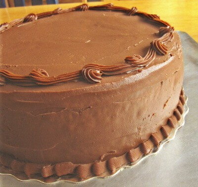 sweet potato chocolate frosting on a cake