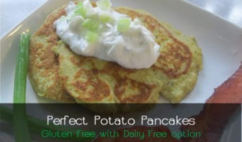 Potato Pancakes - Yumm!! And they're special-diet friendly--Gluten-free with Dairy and Egg-Free option.