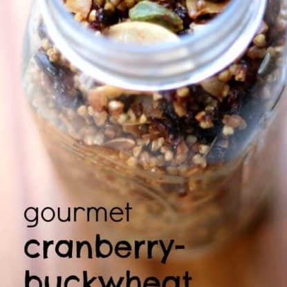 Gourmet Cranberry Buckwheat Granola Recipe. This gluten free granola is free of refined sugar and would make a fabulous gift in a jar :)!