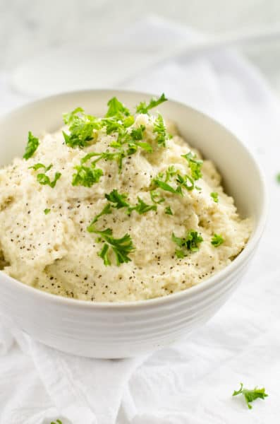 Roasted Garlic & Goat Cheese Cauliflower Mash