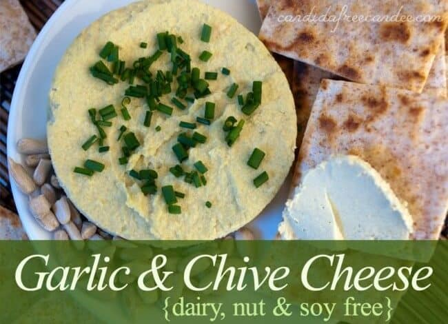 "Are you Dairy Free? This garlic and chive cheese is not only dairy-free, but not and soy free as well. It's the ""Everything Free Cheese :)!"