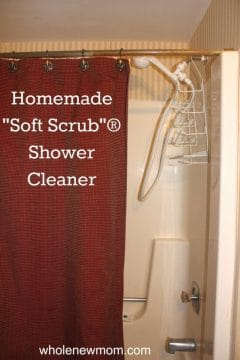 shower with red shower curtain for homemade shower cleaner