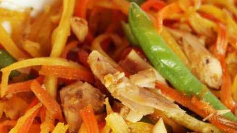 Looking for ways to get more vegetables into your kids' diets or your own? This Rainbow Stir Fry Recipe is Grain free and Soy free and loaded with healthy ingredients. I'm sure your kids will love it!