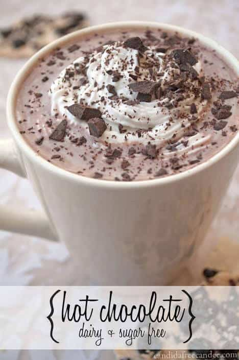 If you're trying to eat healthier, this Homemade Hot Chocolate Recipe is dairy and sugar free! Say BYE BYE to Swiss Miss and the artificial ingredients and loads of sugar and make this instead. Top with Whipped Coconut Cream or Homemade Marshmallows and Chocolate Chips for an extra special treat.