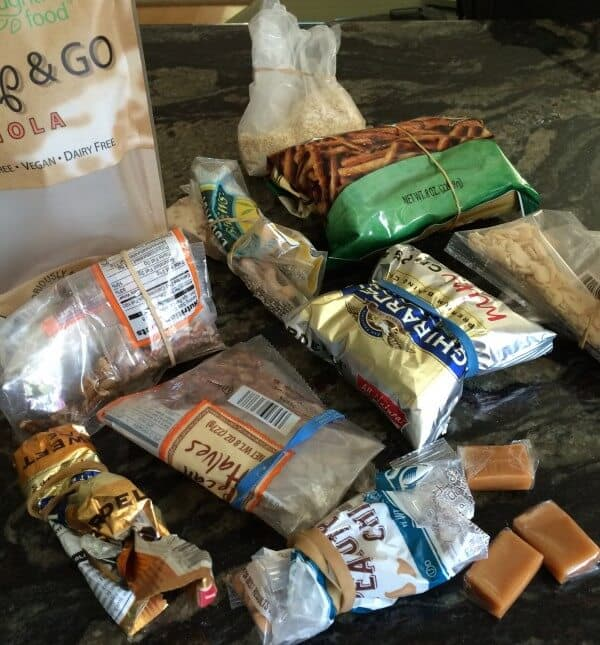 Gluten free pretzels, almond slivers, two bags of pecans, chocolate chips, peanut butter chips, a few caramels, old granola, shaved almonds, quinoa flakes...oh my!