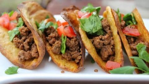 Looking for grain free options for your favorite meals? These Secret Ingredient Paleo Taco Shells are Grain free and Vegan! You won't believe these. It's pretty rare find baked goods that are both grain and egg free, but these taco shells are perfect!