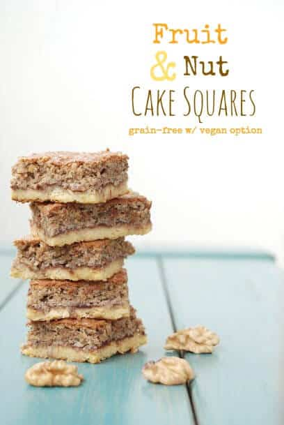 These Gluten Free Cake Bars are a great healthy dessert - made with fruit and nuts. Grain free & Sugar Free with Vegan option