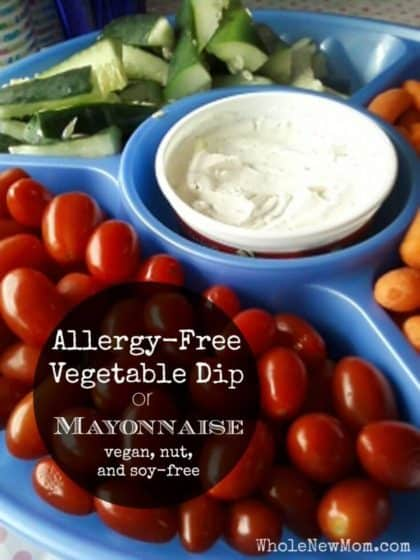 allergy free mayo in a blue vegetable platter
