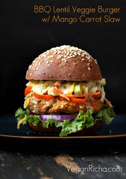 Red Lentil Cauliflower Burger with Chipotle Habanero Mayo