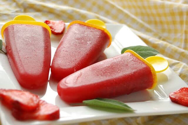 3 Ingredient Vegan Strawberry Sage Popsicles - a Super Quick and Healthy Snack that's great for summer and all year round.