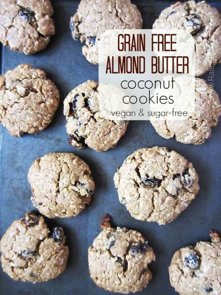 paleo almond butter cookies on baking sheet