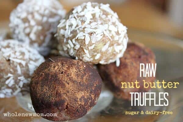 Nut Butter Balls - Sugar and Dairy-free. These come together in a flash and are a yummy treat your kids will love. Low carb & Paleo too!