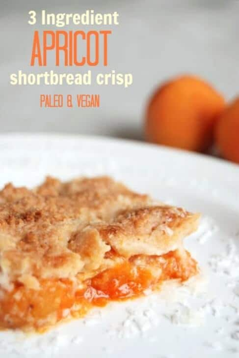 3 Ingredient Apricot Shortbread Crisp! Paleo and Vegan with Low Carb Option.