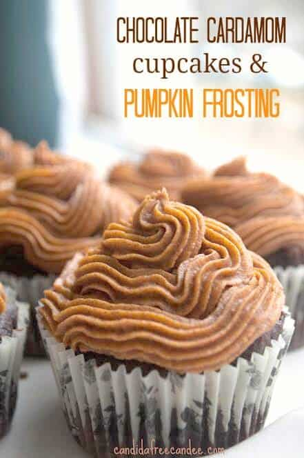 Chocolate Vegan Cupcakes with Pumpkin Frosting - Grain-free, paleo and with vegan option. These low carb cupcakes are a lovely treat for anytime and you can easily make them carob cupcakes as well.