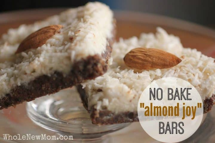 No Bake Almond Joy® Bars on glass plate