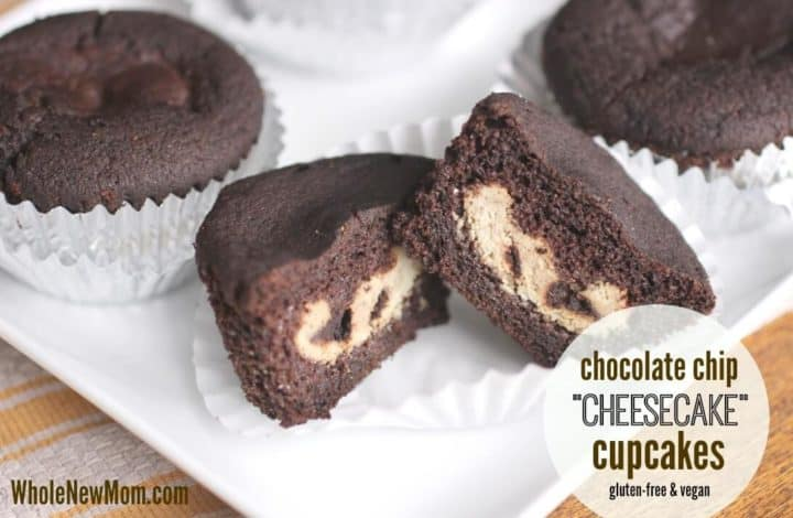 Chocolate Chip Cheesecake Vegan Cupcakes - Gluten Free, Sugar Free & Vegan Cupcakes that taste amazing! Delicious chocolate cupcakes filled with a dairy free cheesecake filling that's sure to please.