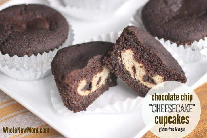 Chocolate Chip Vegan Cheesecake Cupcakes - Gluten Free, Sugar Free & Vegan Cupcakes that taste amazing! Delicious chocolate cupcakes filled with a dairy free cheesecake filling that's sure to please.