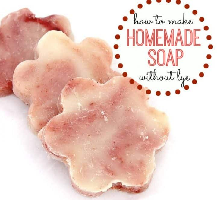 lye-free soap molded into flower shapes