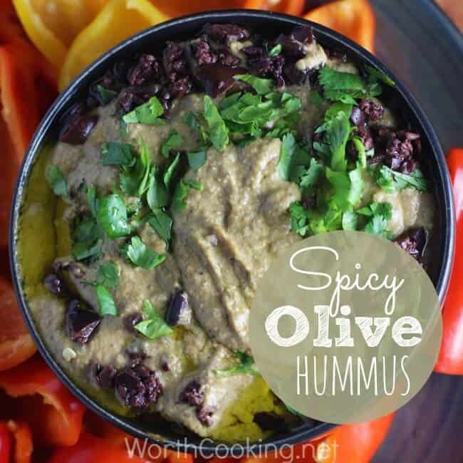 Spicy Olive Hummus Recipe - Easy to make and great as a dip for veggies and chips, or as a spread on flatbreads, wraps, or sandwiches.