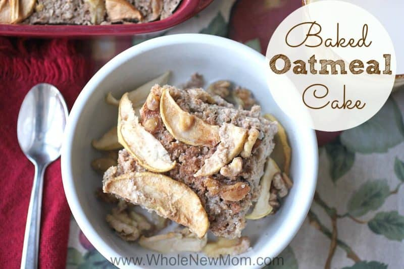 Baked oatmeal cake in a white bowl
