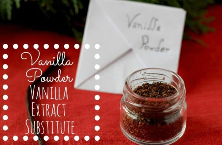 Need a vanilla extract substitute? Vanilla Powder is the perfect thing. This Toasted Vanilla Powder is easy to make and makes a great homemade gift as well. Just use 1/4 - 1/2 tsp vanilla powder for each tsp of vanilla in your recipes that call for vanilla.