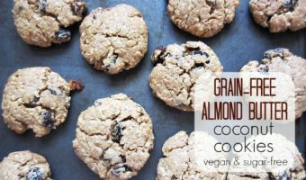 These paleo cookies are easy to make and are a great healthy dessert. Almond Butter Cookies with coconut and your choice of chocolate chips or raisins.