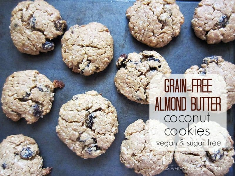 almond butter cookies on baking sheet