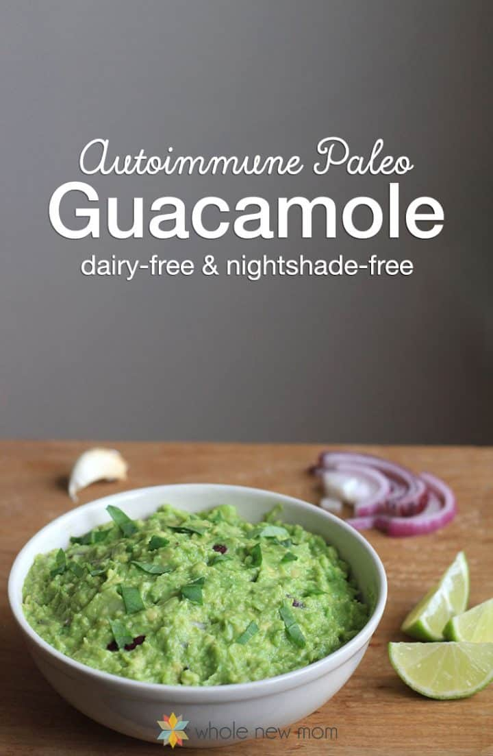 AIP Guacamole in a white bowl on a wooden table