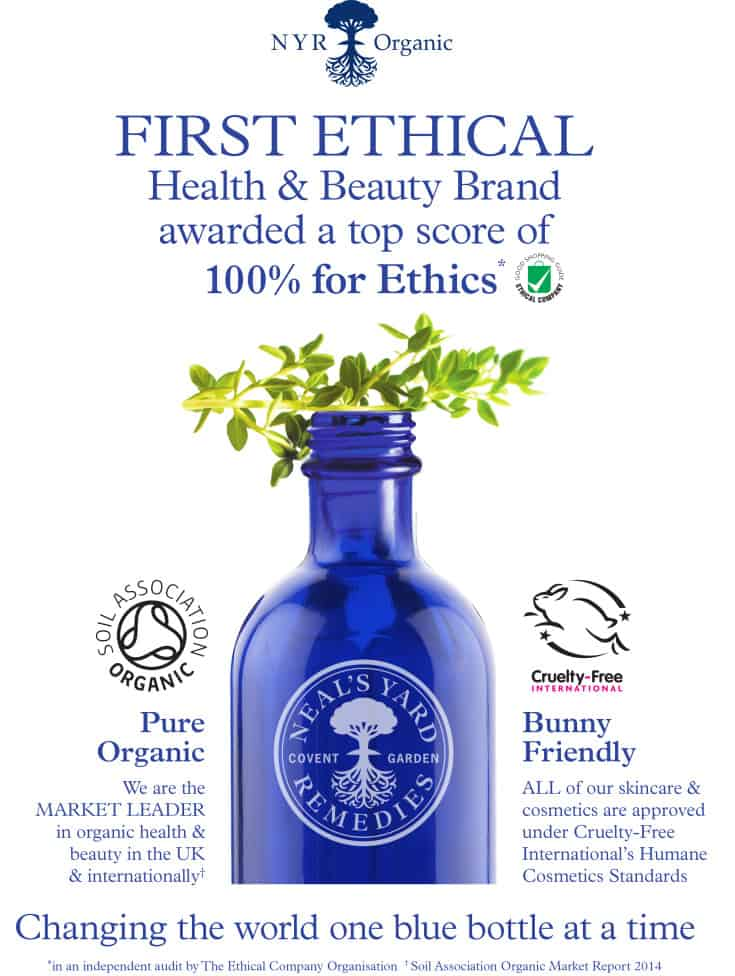 First 100% Ethical Health and Beauty Brand - NYR Organic - Neal's Yard Remedies