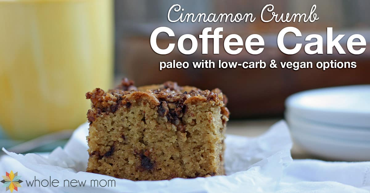 Do you miss classic coffee cakes since cutting out grains? Here's a paleo (grain-free & dairy-free) Cinnamon Crumb Cake just like the crumbly coffee cakes you grew up with! This one has options to make it egg-free or vegan, and low-carb sweetener substitutions!