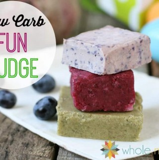 green, purple and red/pink fun fudge with some blueberries in the background