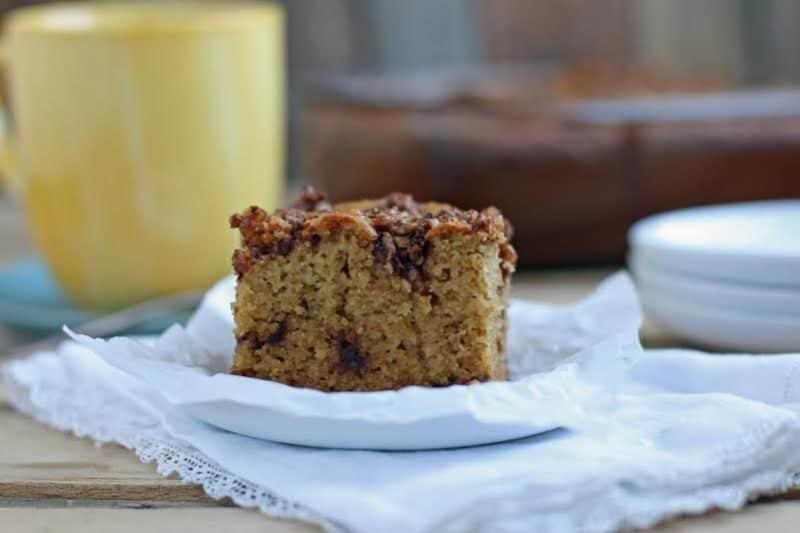 Slice of cinnamon coffee cake on a plate