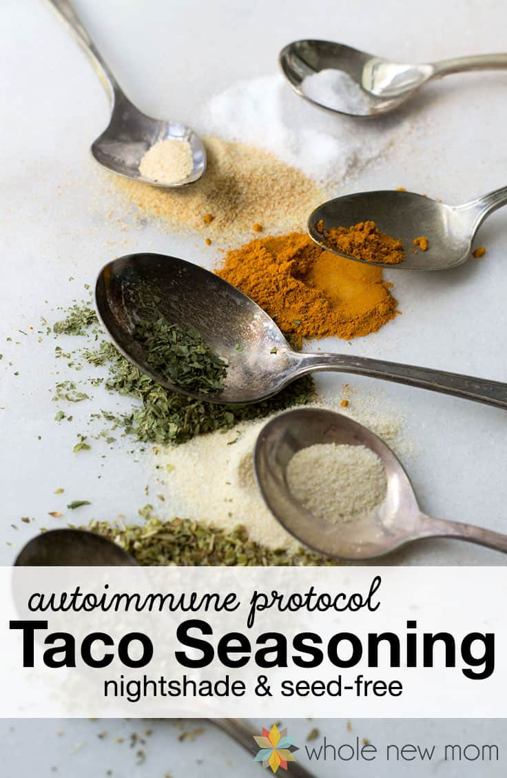 It's hard to give up things like tacos when you go on AIP. This autoimmune protocol taco seasoning (AIP Taco Seasoning) is free of nightshades & seeds. #paleo #AIP #homemadeseasonings