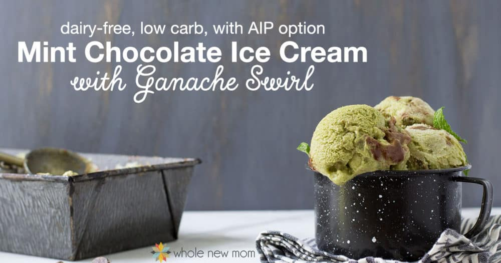Fresh Mint Ice Cream with Chocolate Ganache instead of Chocolate Chips! Dairy free, low carb, and with an AIP option. THM:S too!