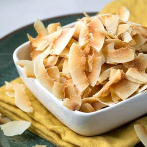 Toasted coconut chips in a white square bowl