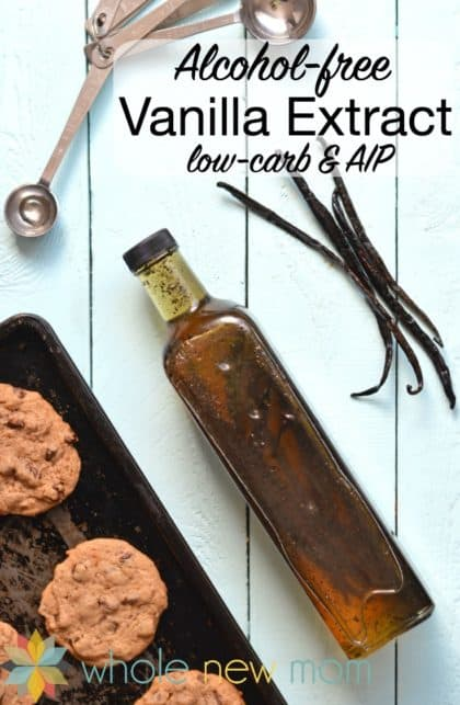 Homemade Vanilla Extract that's Alcohol-free! If you're avoiding alcohol for dietary or other reasons, getting the great flavor of vanilla can be hard, but you're covered with this simple recipe!