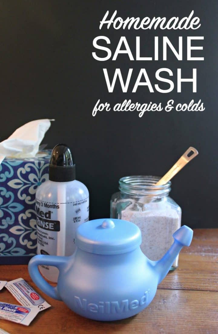 Blue Neti Pot, Salt, Tissues, and Saline Spray bottle with DIY Saline Wash