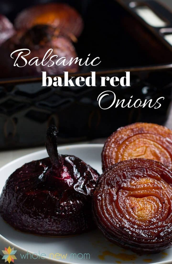 Baked Balsamic Red Onions on a plate with baking pan in background